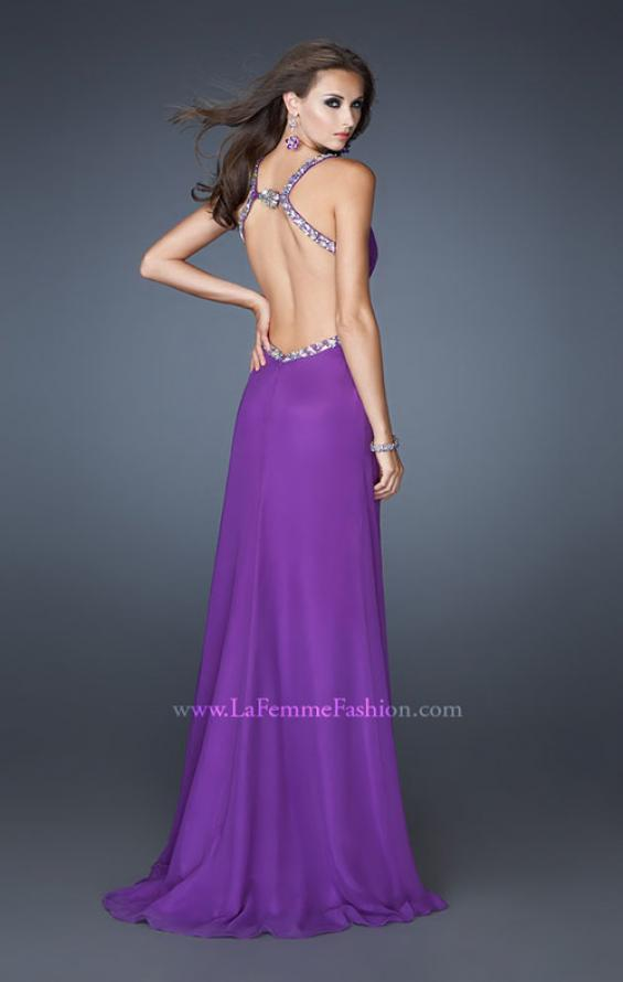 Picture of: Long Chiffon Prom Gown with Beaded Straps and Cut Outs in Purple, Style: 18888, Back Picture