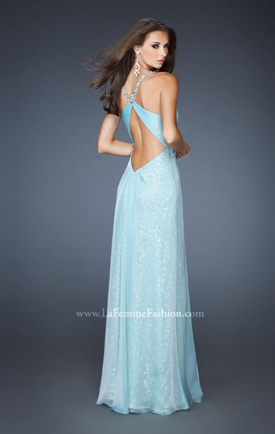Picture of: Long Sequin Prom Dress with Chiffon Overlay in Blue, Style: 18896, Back Picture
