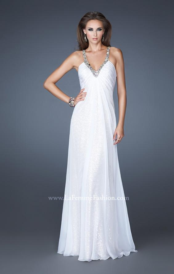Picture of: Long Sequin Prom Dress with Chiffon Overlay in White, Style: 18896, Detail Picture 1