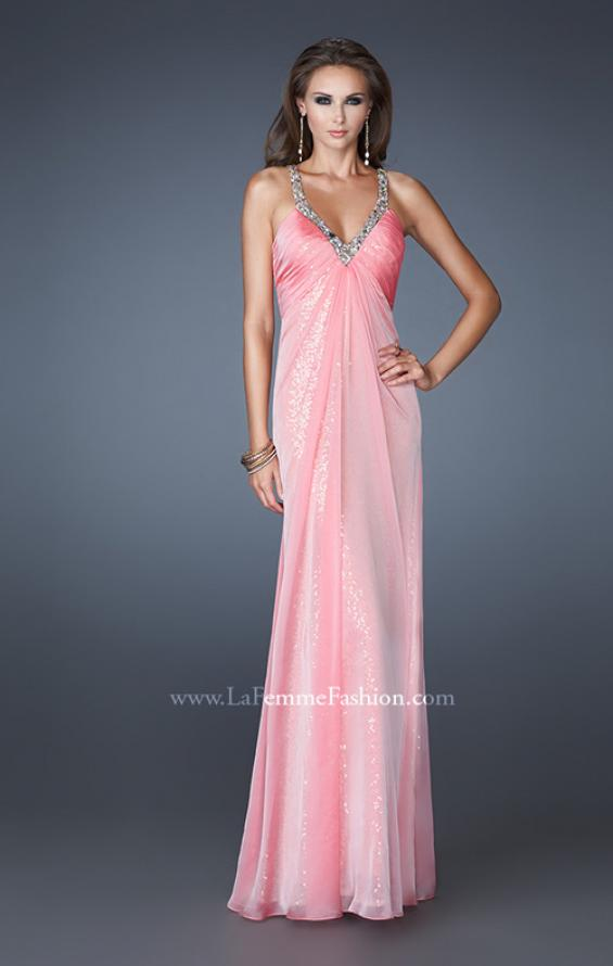 Picture of: Long Sequin Prom Dress with Chiffon Overlay in Pink, Style: 18896, Detail Picture 2