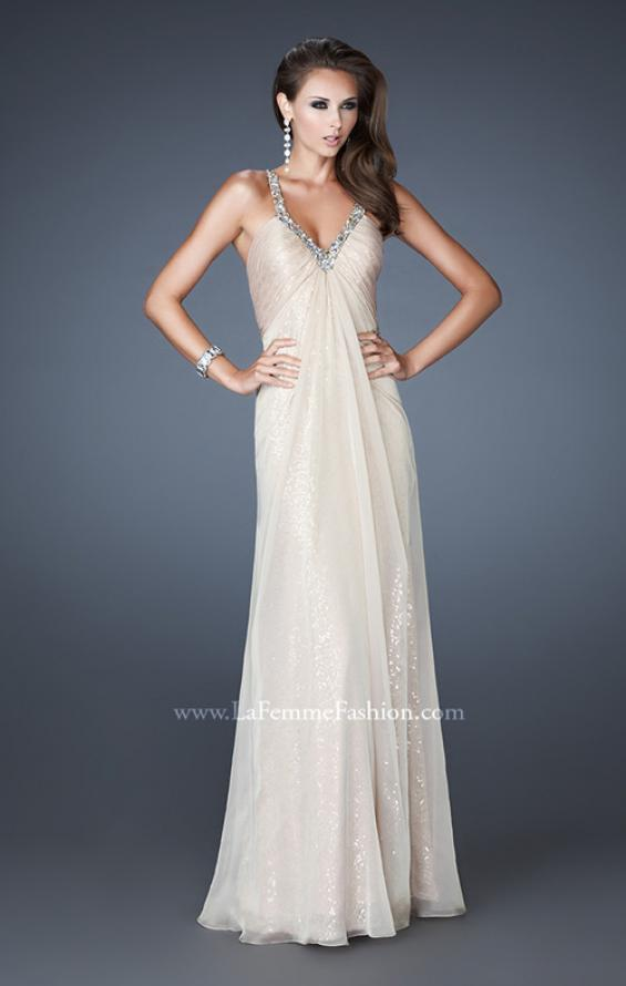 Picture of: Long Sequin Prom Dress with Chiffon Overlay in Nude, Style: 18896, Detail Picture 3