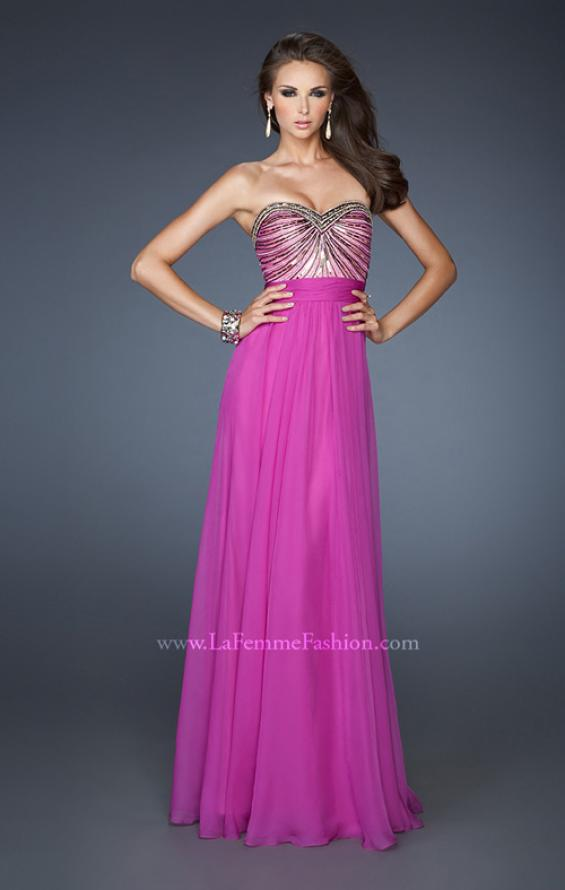 Picture of: Long Chiffon Prom Dress with Embellished Bodice in Pink, Style: 18897, Main Picture
