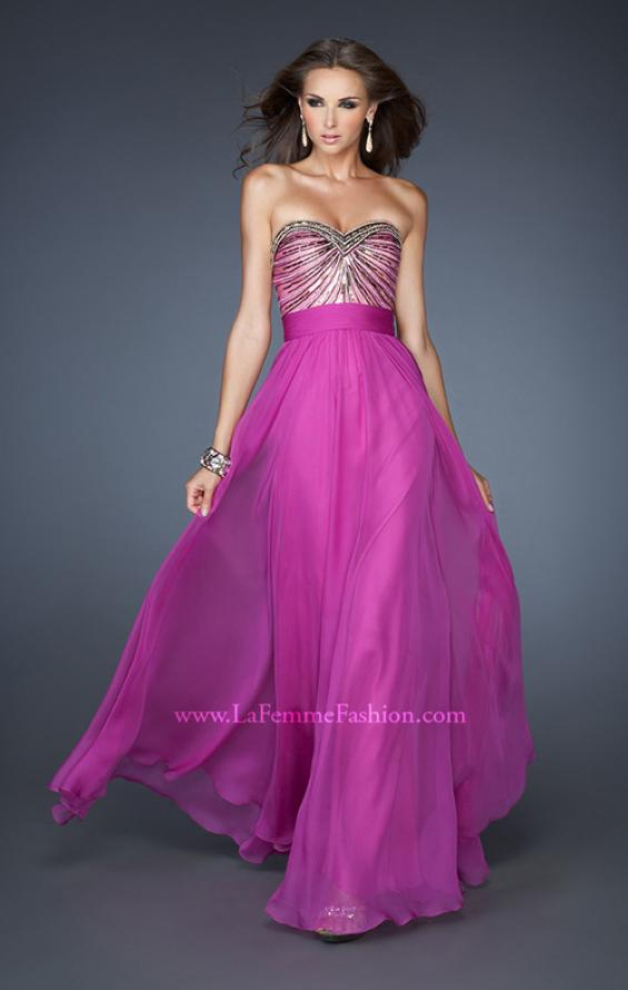 Picture of: Long Chiffon Prom Dress with Embellished Bodice in Pink, Style: 18897, Detail Picture 1