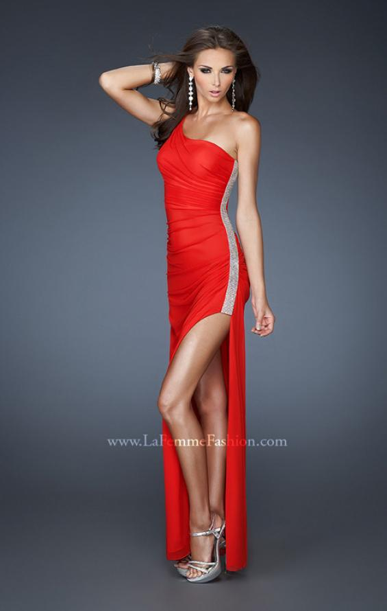 Picture of: One Shoulder Long Prom Dress with Beaded Side Panel in Red, Style: 18905, Main Picture