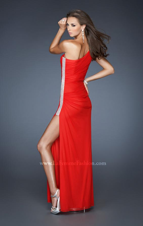 Picture of: One Shoulder Long Prom Dress with Beaded Side Panel n Red, Style: 18905, Back Picture