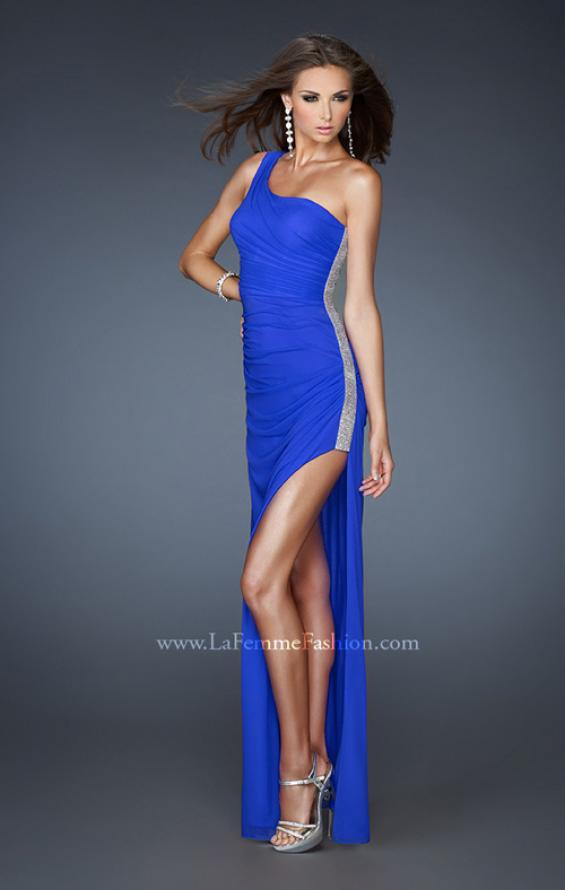 Picture of: One Shoulder Long Prom Dress with Beaded Side Panel in Blue, Style: 18905, Detail Picture 1