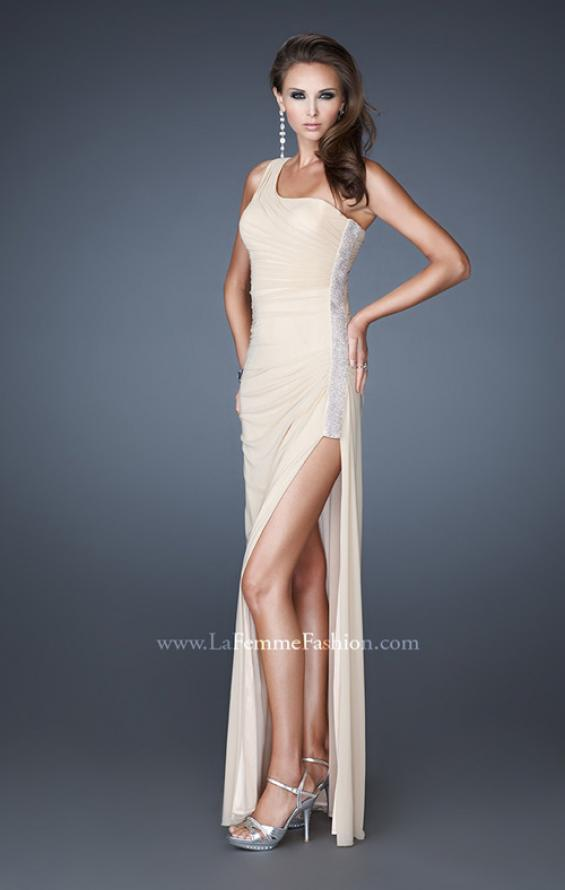Picture of: One Shoulder Long Prom Dress with Beaded Side Panel in Nude, Style: 18905, Detail Picture 2