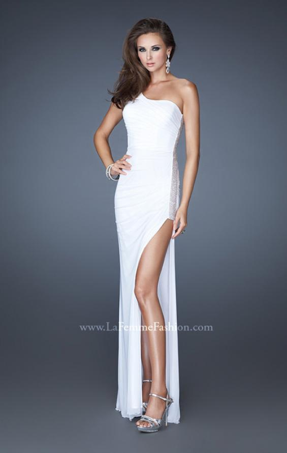 Picture of: One Shoulder Long Prom Dress with Beaded Side Panel in White, Style: 18905, Detail Picture 3