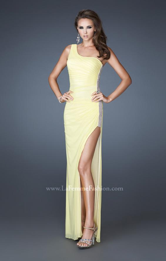 Picture of: One Shoulder Long Prom Dress with Beaded Side Panel in Yellow, Style: 18905, Detail Picture 4