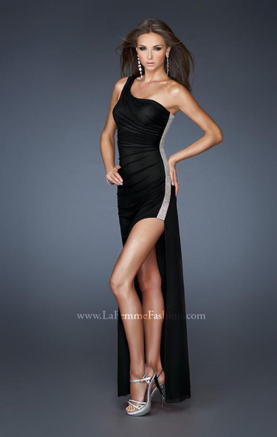 Picture of: One Shoulder Long Prom Dress with Beaded Side Panel in Black, Style: 18905, Detail Picture 5
