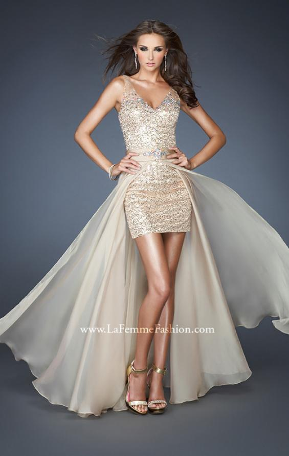Picture of: Short Sequin Fitted Dress with Detachable Chiffon Skirt in Nude, Style: 18906, Main Picture