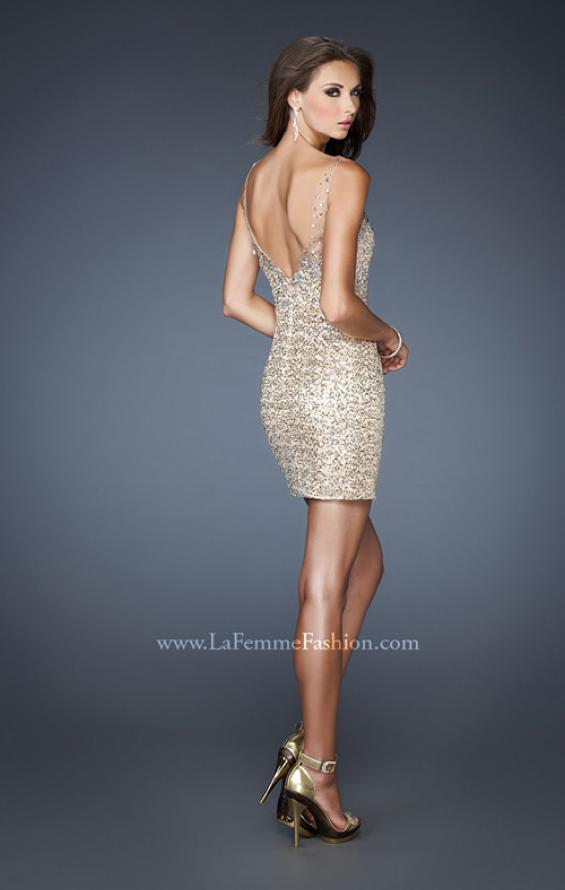 Picture of: Short Sequin Fitted Dress with Detachable Chiffon Skirt in Nude, Style: 18906, Back Picture