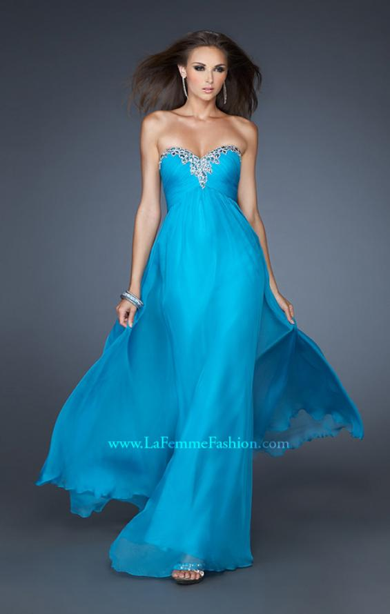 Picture of: Long Strapless Chiffon Prom Dress with Beaded Trim, Style: 18909, Main Picture
