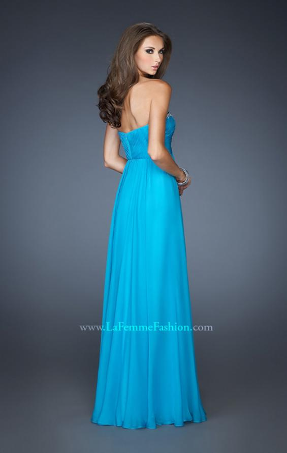 Picture of: Long Strapless Chiffon Prom Dress with Beaded Trim, Style: 18909, Back Picture