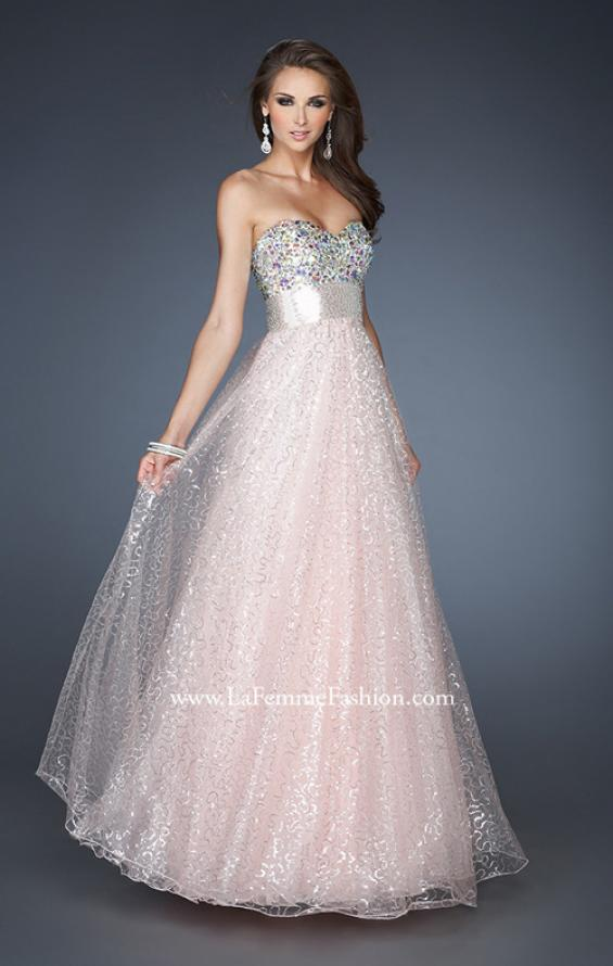 Picture of: Strapless Long Ball Gown with Beaded Bodice and Belt, Style: 18910, Main Picture
