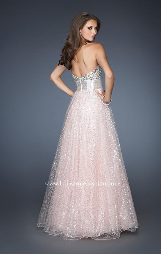 Picture of: Strapless Long Ball Gown with Beaded Bodice and Belt, Style: 18910, Back Picture