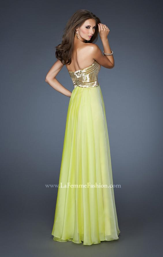 Picture of: Long Strapless Chiffon Prom Dress with Beaded Bodice in Green, Style: 18911, Back Picture