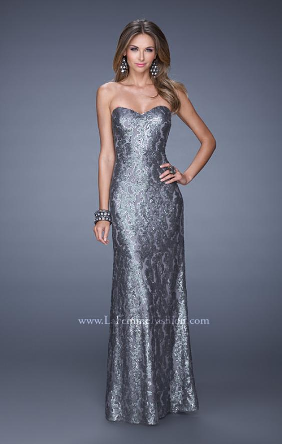 Picture of: Fitted Strapless Long Dress with Pattern Sequin in Silver, Style: 18917, Main Picture