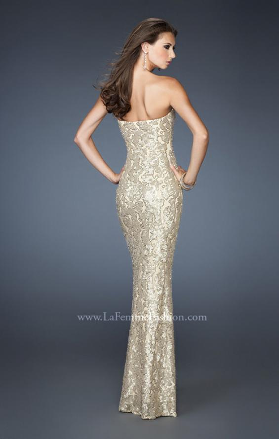 Picture of: Fitted Strapless Long Dress with Pattern Sequin in Gold, Style: 18917, Back Picture