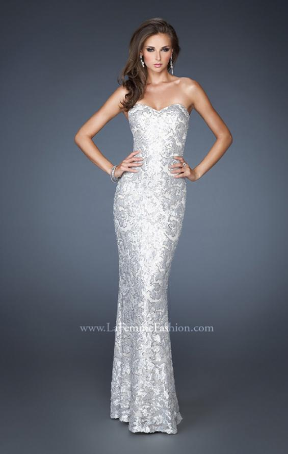 Picture of: Fitted Strapless Long Dress with Pattern Sequin in White, Style: 18917, Detail Picture 2