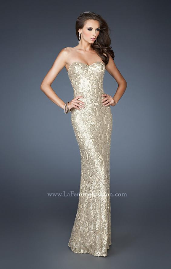Picture of: Fitted Strapless Long Dress with Pattern Sequin in Gold, Style: 18917, Detail Picture 3