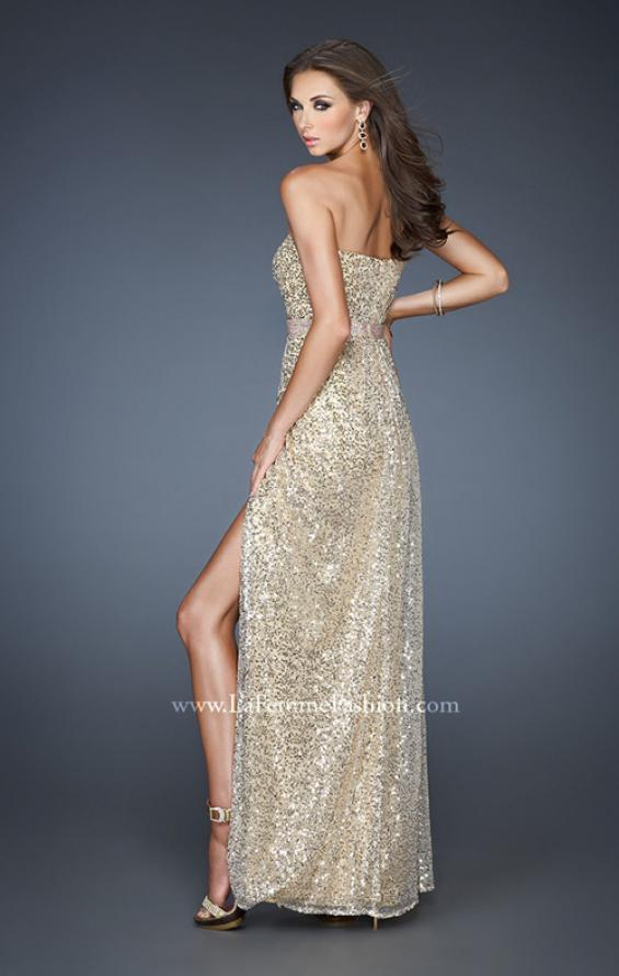 Picture of: Strapless Long Sequin Prom Dress with Embellished Belt, Style: 18918, Back Picture