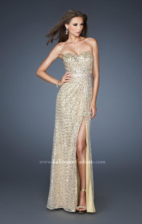 Picture of: Strapless Long Sequin Prom Dress with Embellished Belt, Style: 18918, Detail Picture 1