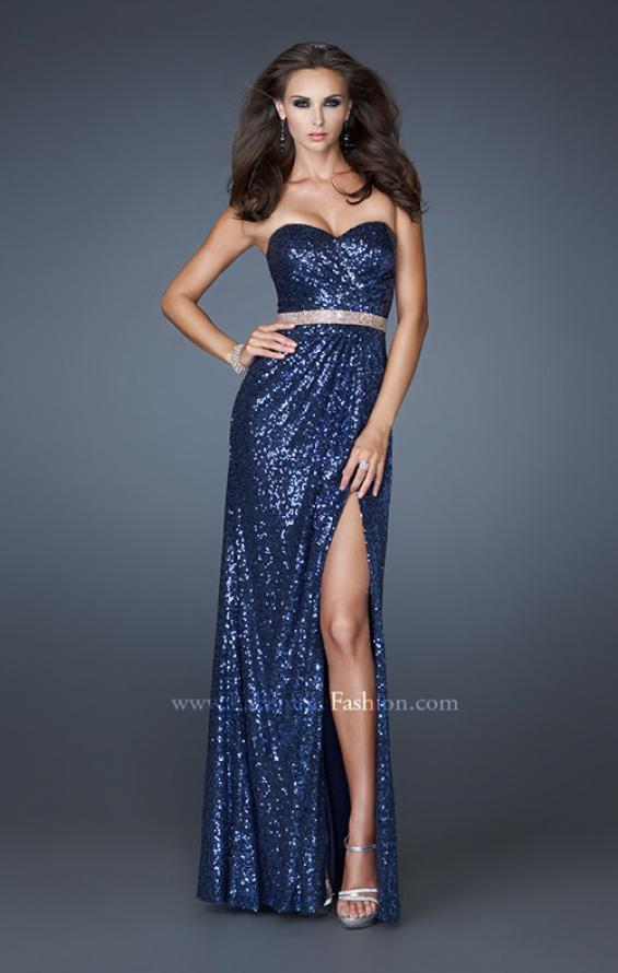 Picture of: Strapless Long Sequin Prom Dress with Embellished Belt, Style: 18918, Detail Picture 2