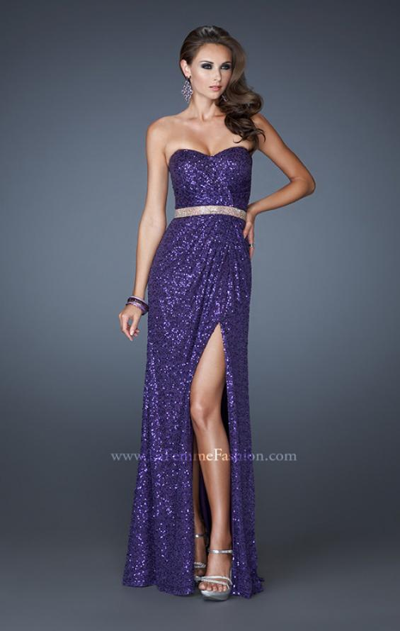 Picture of: Strapless Long Sequin Prom Dress with Embellished Belt, Style: 18918, Detail Picture 3