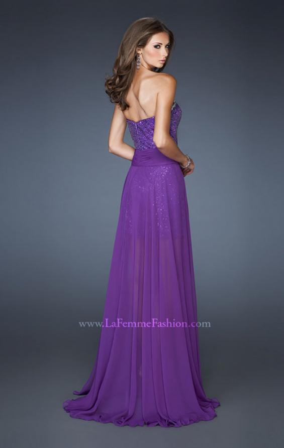 Picture of: Sequin Fitted Prom Dress with Detachable Chiffon Skirt , Style: 18922, Back Picture