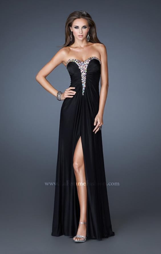 Picture of: Strapless Prom Dress with Beaded Detail and Strappy Back, Style: 18934, Detail Picture 1