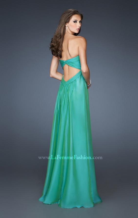 Picture of: Strapless Long Chiffon Prom Dress with Beaded Trim Detail, Style: 18935, Back Picture