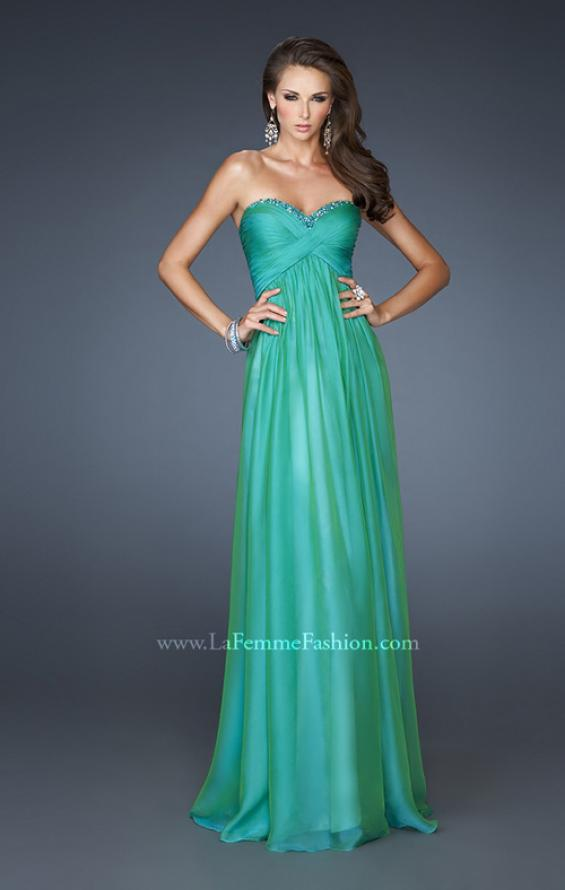 Picture of: Strapless Long Chiffon Prom Dress with Beaded Trim Detail, Style: 18935, Detail Picture 1