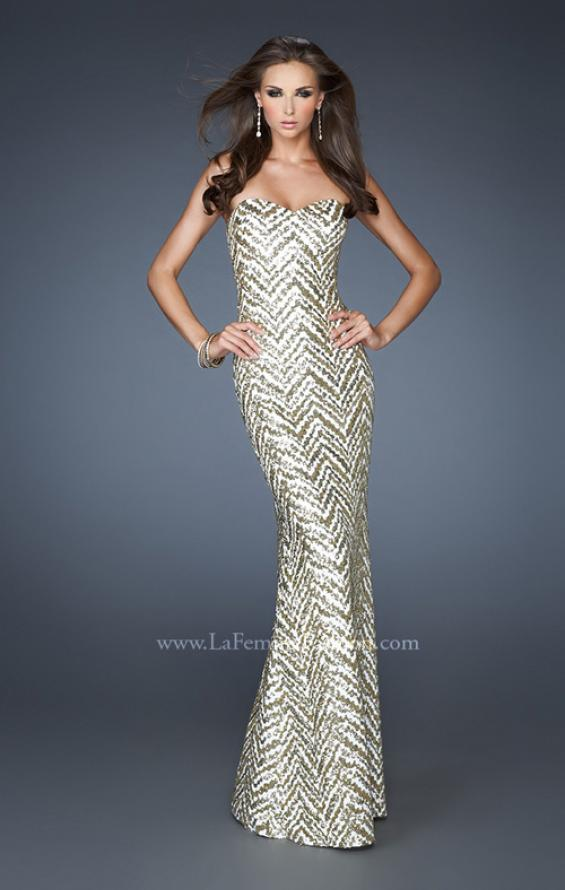 Picture of: Strapless Fitted Long Prom Dress with Sequin Pattern, Style: 18938, Main Picture