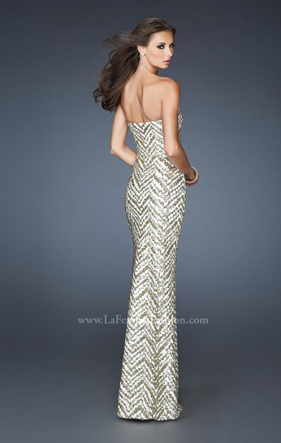 Picture of: Strapless Fitted Long Prom Dress with Sequin Pattern, Style: 18938, Back Picture