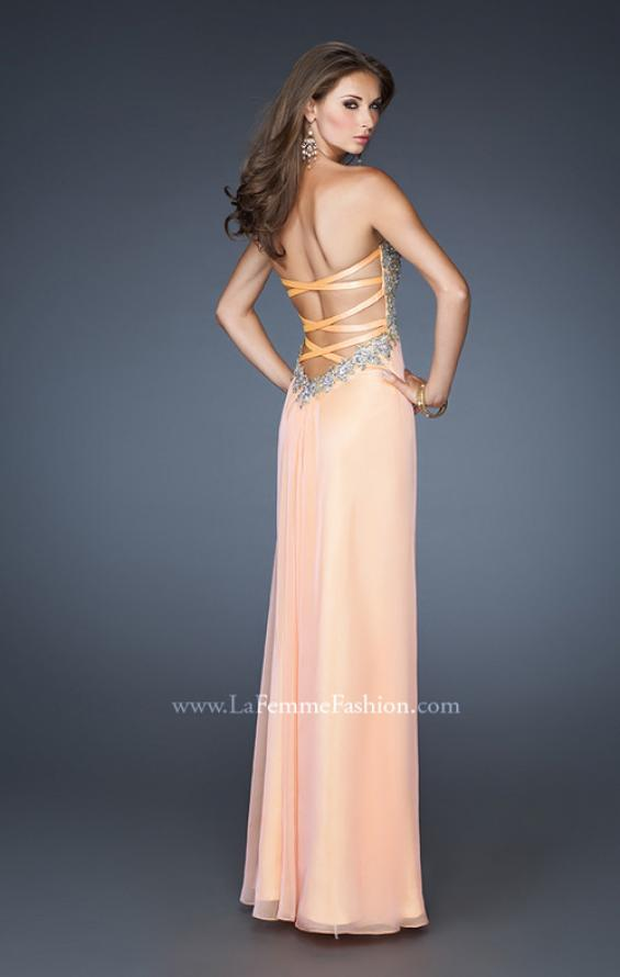 Picture of: Strapless Long Chiffon Prom Dress with Embellished Bodice in Orange, Style: 18942, Back Picture