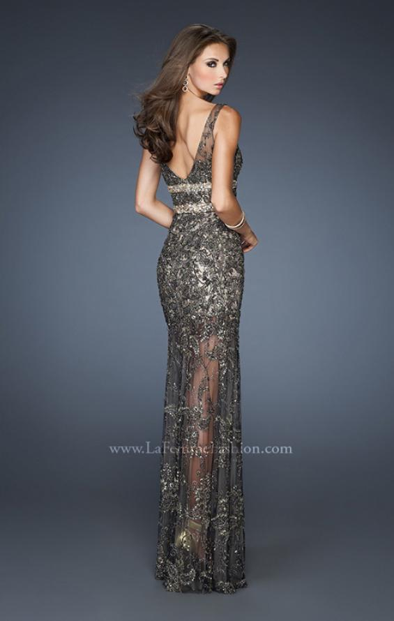 Picture of: Long Beaded Embroidered Lace Gown with Sheer Skirt in Black, Style: 18944, Back Picture
