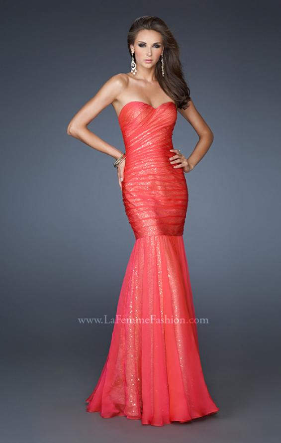 Picture of: Strapless Ruched Mermaid Dress with Sequin Underlay, Style: 18949, Main Picture