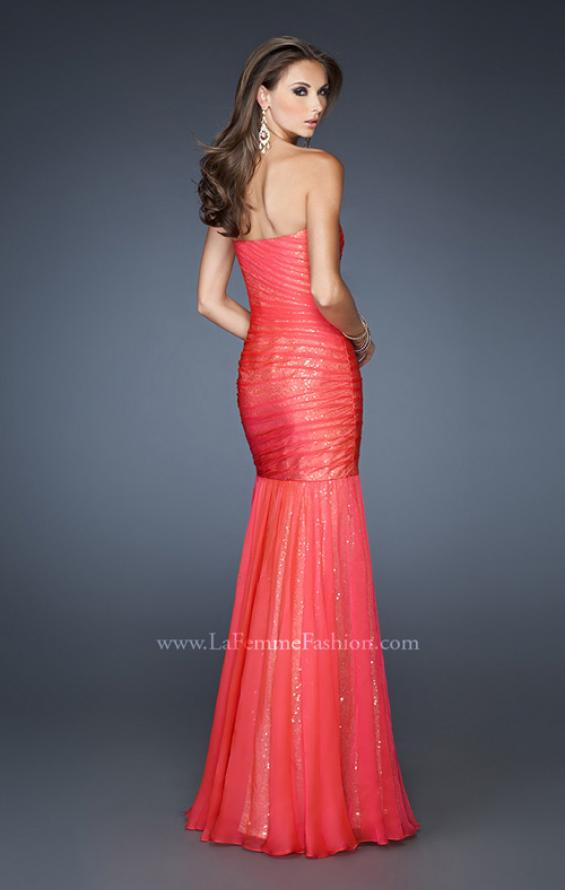 Picture of: Strapless Ruched Mermaid Dress with Sequin Underlay, Style: 18949, Back Picture
