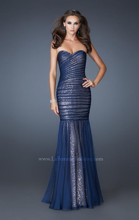 Picture of: Strapless Ruched Mermaid Dress with Sequin Underlay, Style: 18949, Detail Picture 2