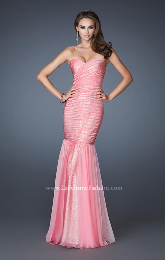 Picture of: Strapless Ruched Mermaid Dress with Sequin Underlay, Style: 18949, Detail Picture 3