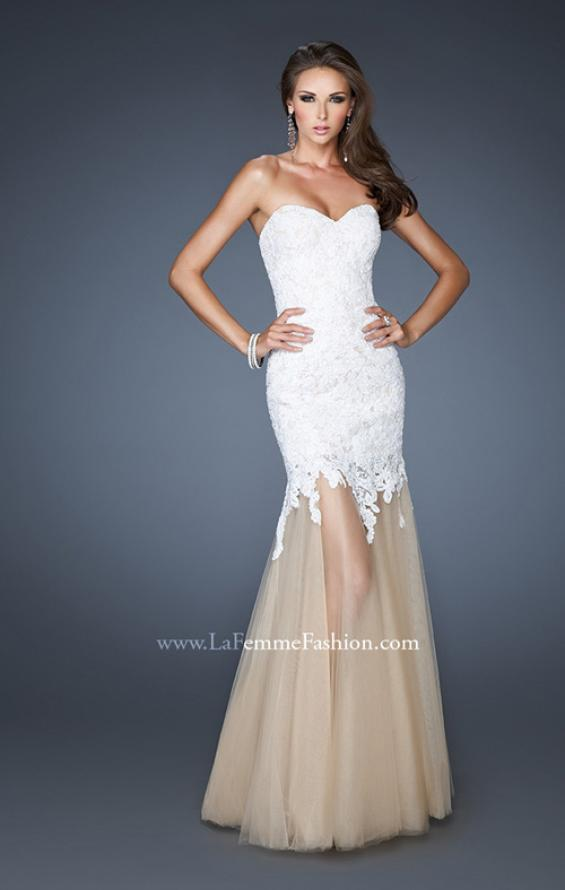Picture of: Strapless Long Fitted Mermaid Lace Dress with Tulle Skirt in White, Style: 18951, Main Picture