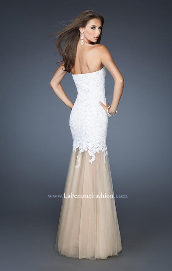 Picture of: Strapless Long Fitted Mermaid Lace Dress with Tulle Skirt in White, Style: 18951, Back Picture