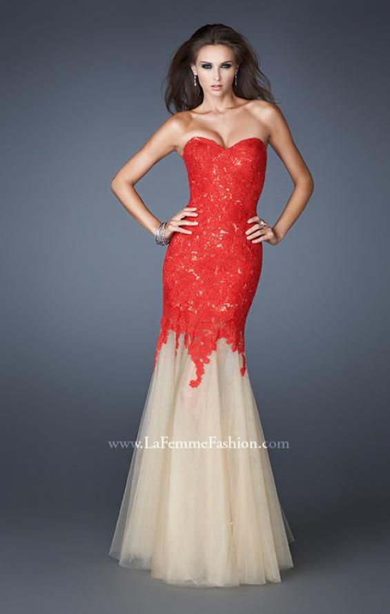 Picture of: Strapless Long Fitted Mermaid Lace Dress with Tulle Skirt in Red, Style: 18951, Detail Picture 1