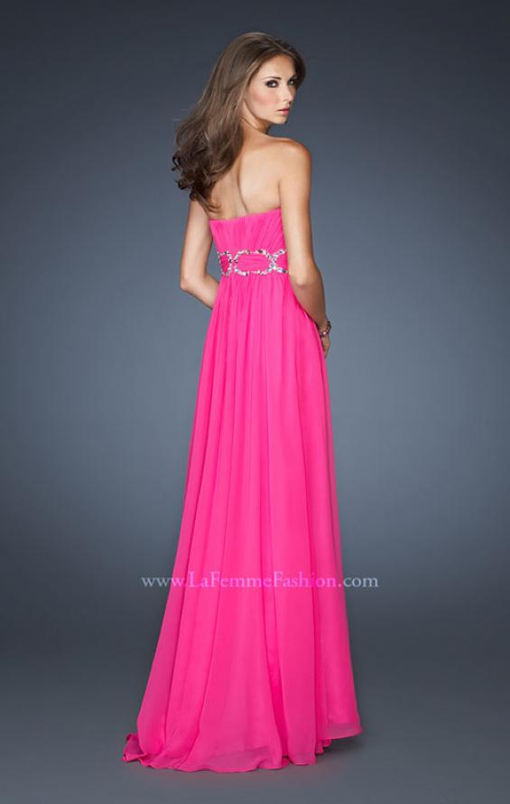 Picture of: Strapless Long Chiffon Prom Dress with Bedazzled Waist, Style: 18953, Back Picture