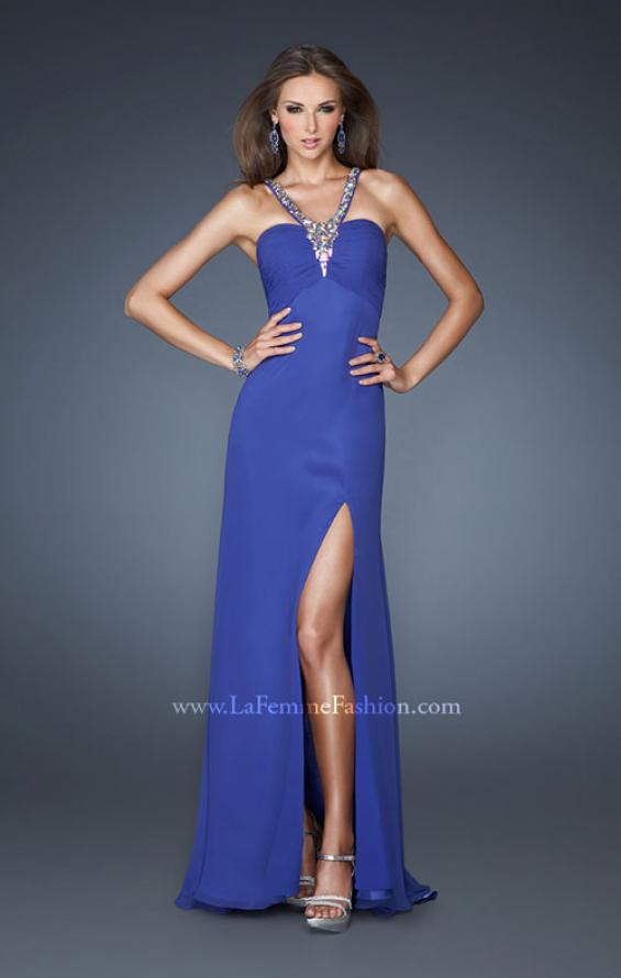 Picture of: Long Chiffon Prom Dress with Metallic Beaded Halter Straps in Blue, Style: 18956, Back Picture