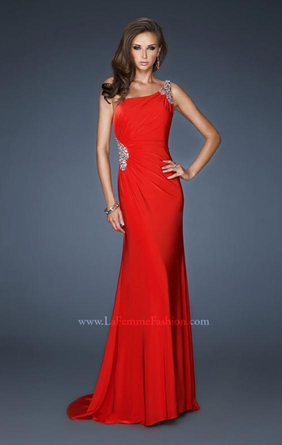 Picture of: One Shoulder Long Prom Gown with Side Ruching in Red, Style: 18960, Main Picture