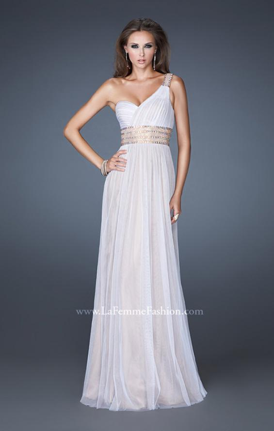 Picture of: One Shoulder Tulle Prom Dress with Embellished Waist in White, Style: 18965, Main Picture