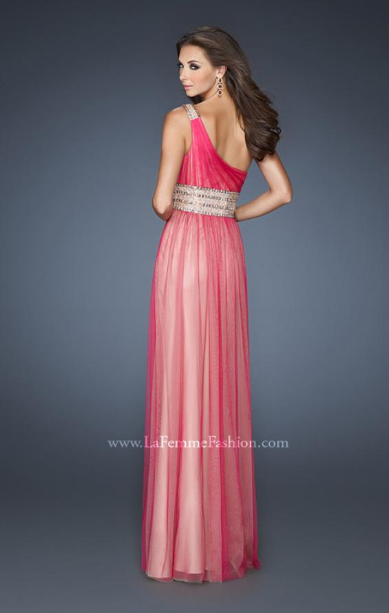 Picture of: One Shoulder Tulle Prom Dress with Embellished Waist in Pink, Style: 18965, Back Picture