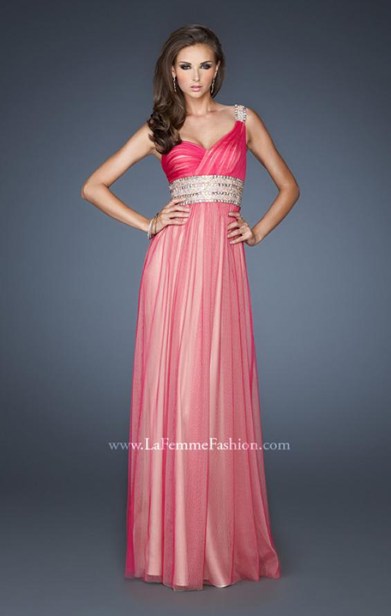 Picture of: One Shoulder Tulle Prom Dress with Embellished Waist in Pink, Style: 18965, Detail Picture 1